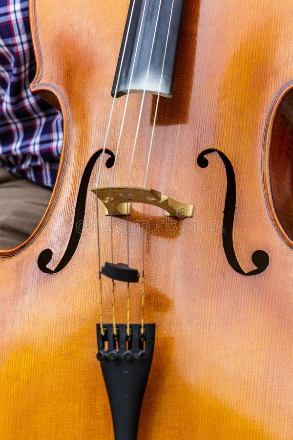Close up of an Upright Bass stock images