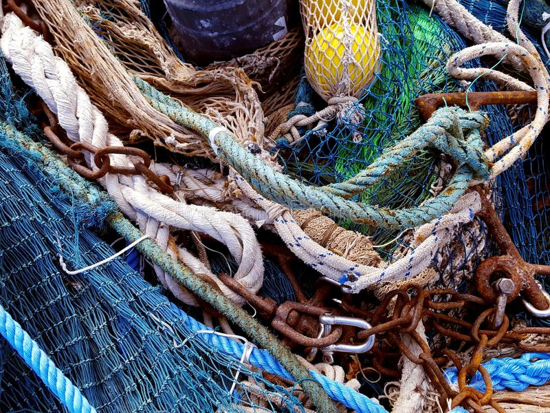 Fishing nets and ropes stock photo
