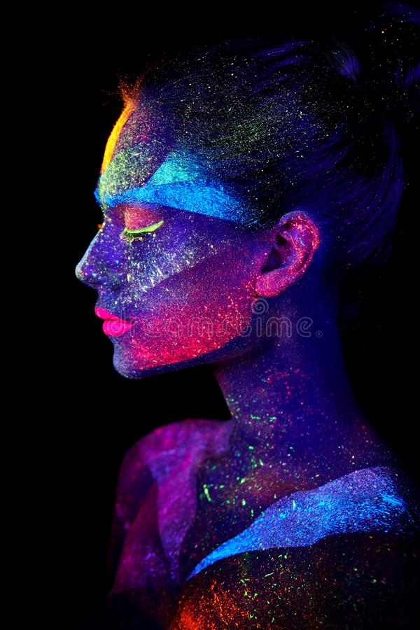 Close up UV abstract portrait. Face art royalty free stock image