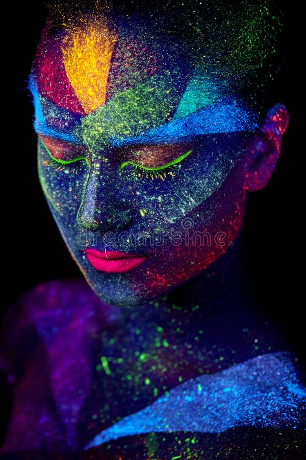 Close up UV abstract portrait. Face art royalty free stock photography
