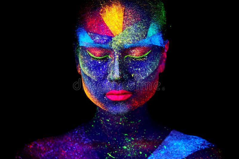 Close up UV abstract portrait. Face art stock photo