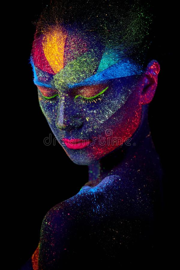Close up UV abstract portrait. Face art royalty free stock photo