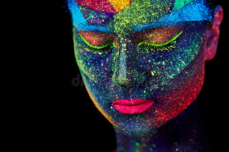 Close up UV abstract portrait stock image