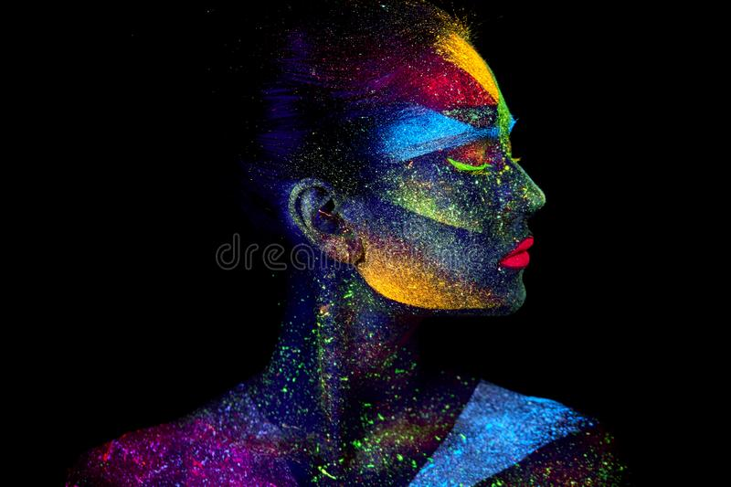 Close up UV abstract portrait stock photography