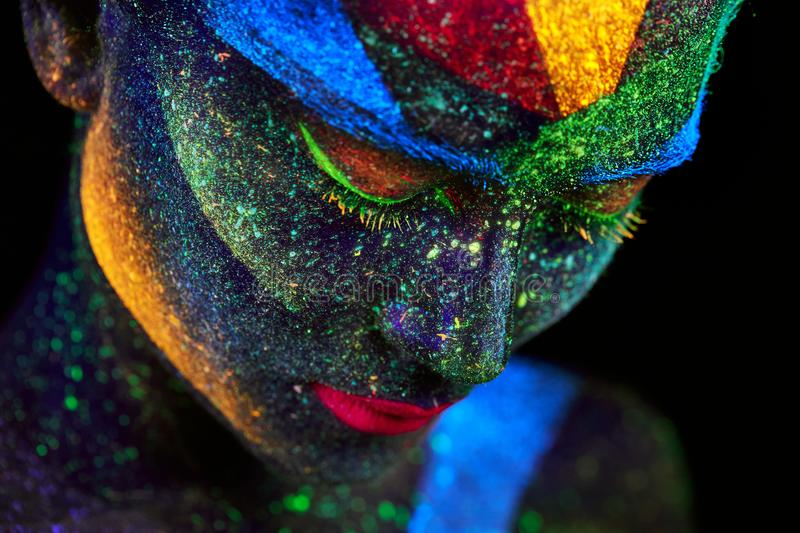 Close up UV abstract portrait stock images