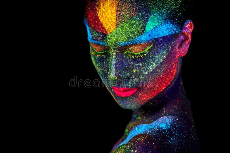Close up UV abstract portrait. Face art stock image