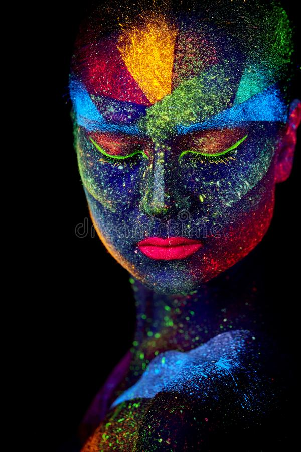 Close up UV abstract portrait. Face art stock photography
