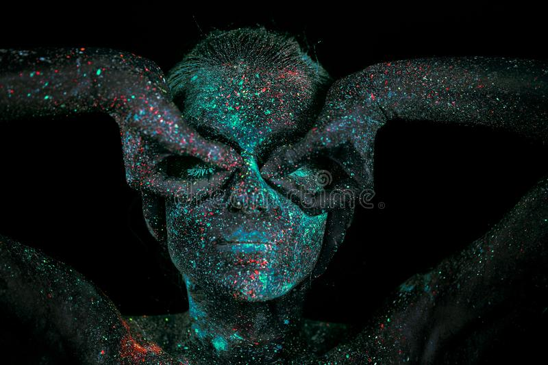 Close up UV abstract portrait outer space stock images