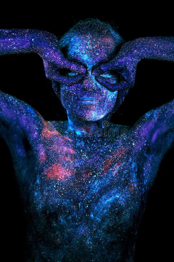 Close up UV abstract portrait outer space. On black background stock photo