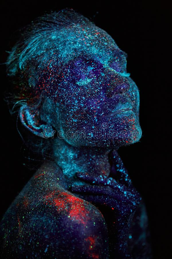 Close up UV abstract portrait outer space royalty free stock photos