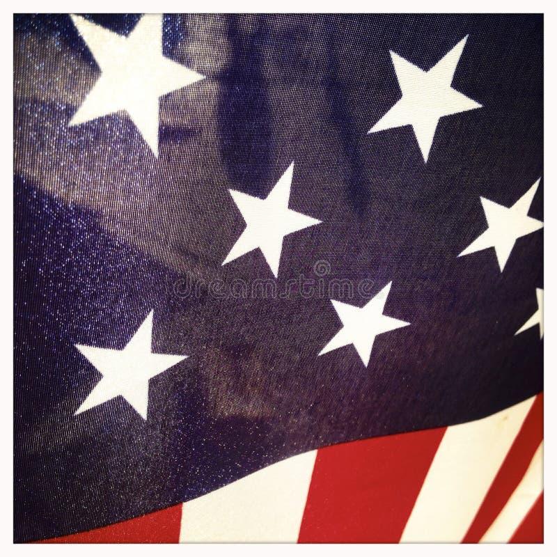 Close-up van Amerikaanse Vlag de V.S. stock foto's