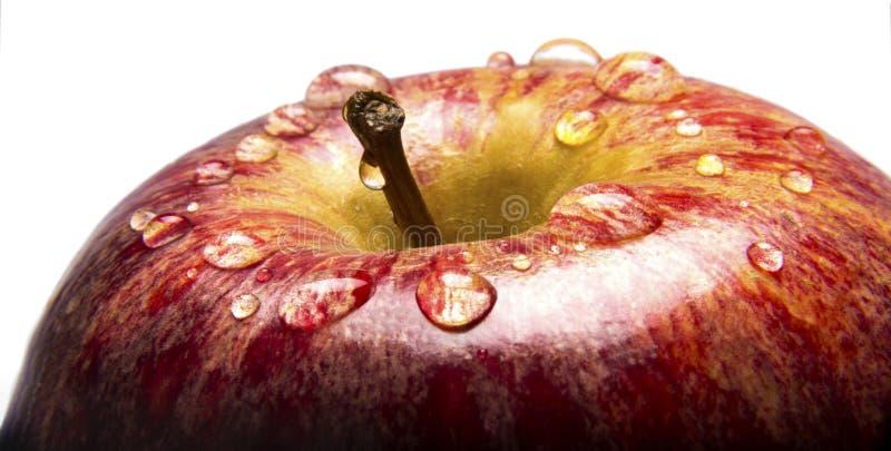 Close-up van Apple met Water Droplests royalty-vrije stock fotografie