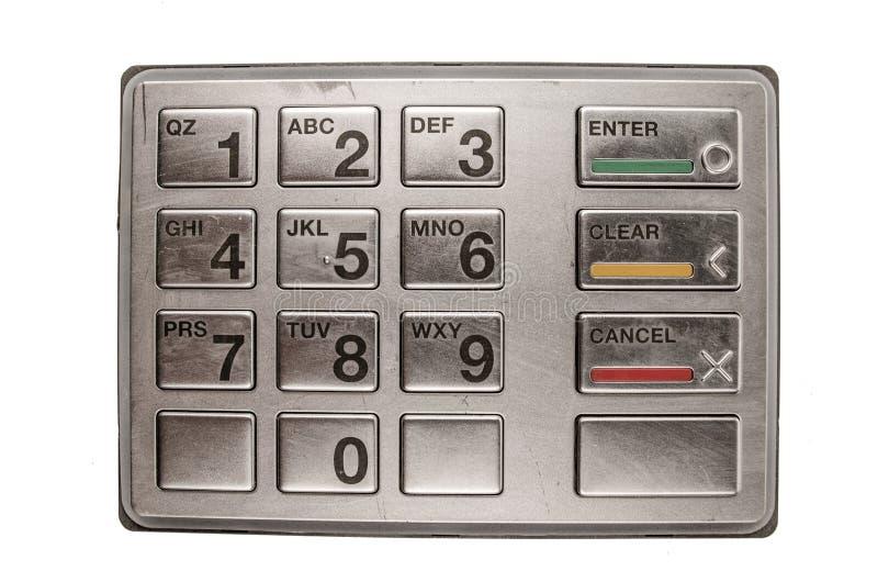 Close-up van ATM-machinetoetsenbord stock foto's