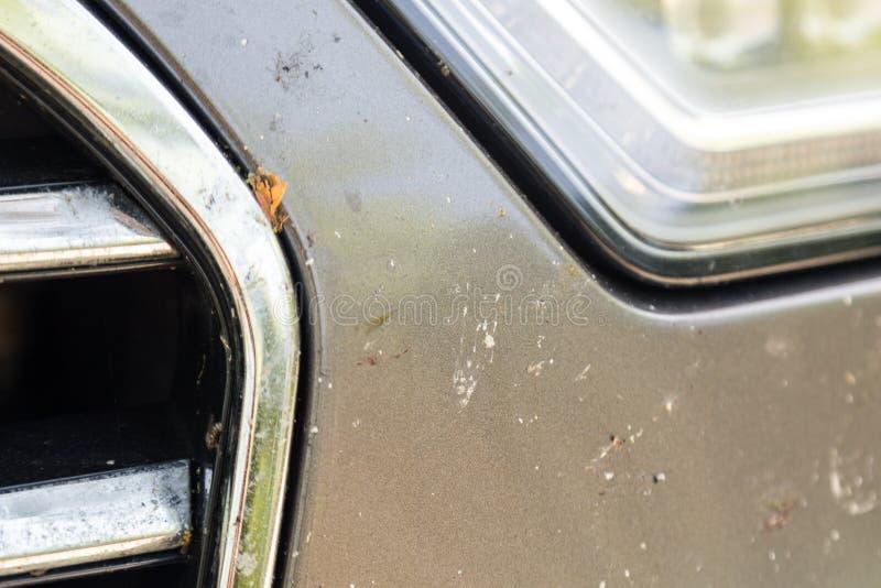 Close-up van auto voorbumper met vele gebroken insecten Hoge snelheidsaandrijving royalty-vrije stock afbeeldingen