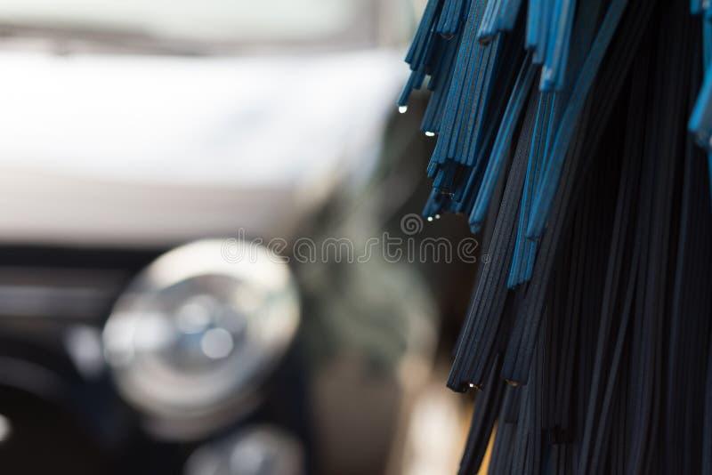 Close-up van automatische carwashmachine stock afbeeldingen