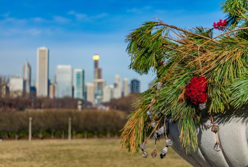 Close-up van Bloemen en Pijnboomtakken in een Planter met de Aandrijving van de Meerkust en de Horizon van Chicago stock foto's