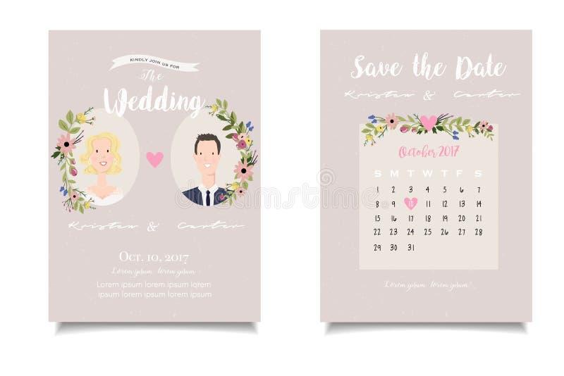 Close-up van blondebruid en kastanjebruidegom op huwelijksinvitatio stock illustratie