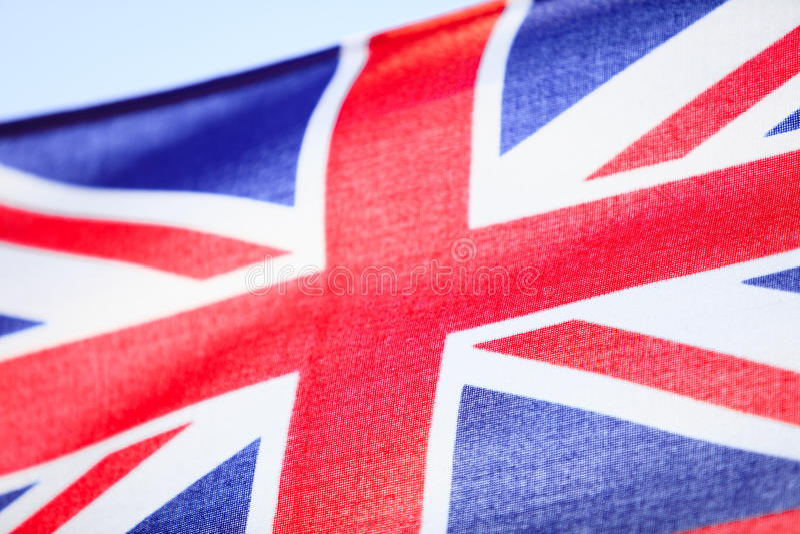 Close-up van Britse vlag Britse vlag. Symbool van Europees land. stock fotografie