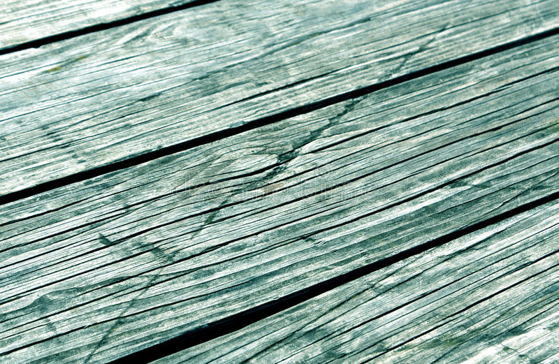 Close-up van cyaan gestemde houten planken stock foto's
