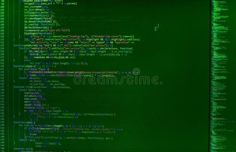 Close-up van de code van Java Script, CSS en HTML- stock afbeeldingen