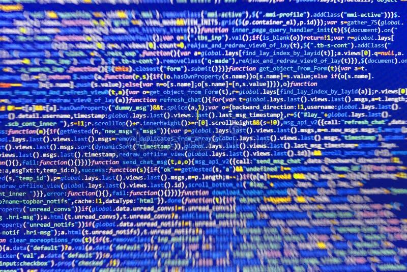 Close-up van de code van Java Script, CSS en HTML- stock fotografie