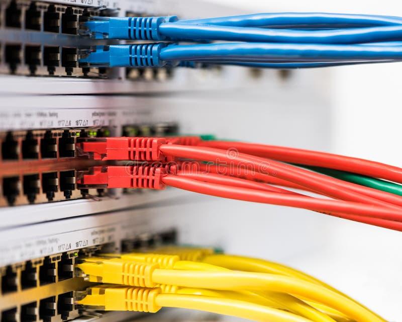 Close-up van de gekleurde die kabels van het computernetwerk met een swi worden verbonden stock foto
