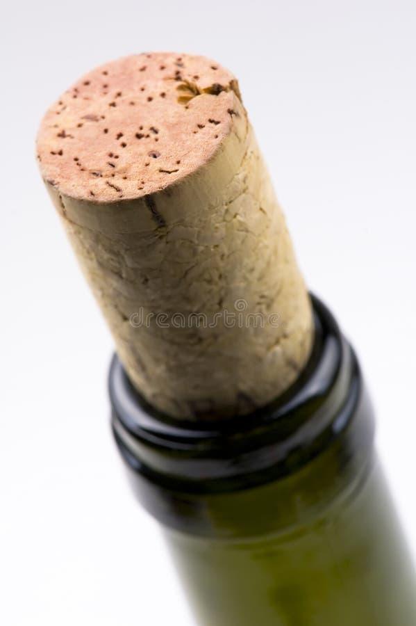 Close-up van de hals en cork van de wijnfles stock afbeeldingen