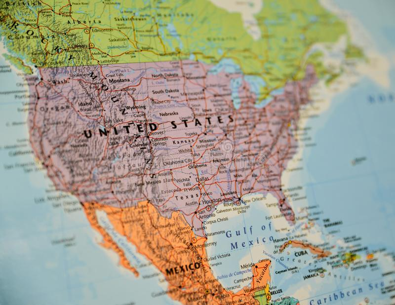 Close-up van de kaart die van Noord-Amerika wordt geschoten stock afbeeldingen