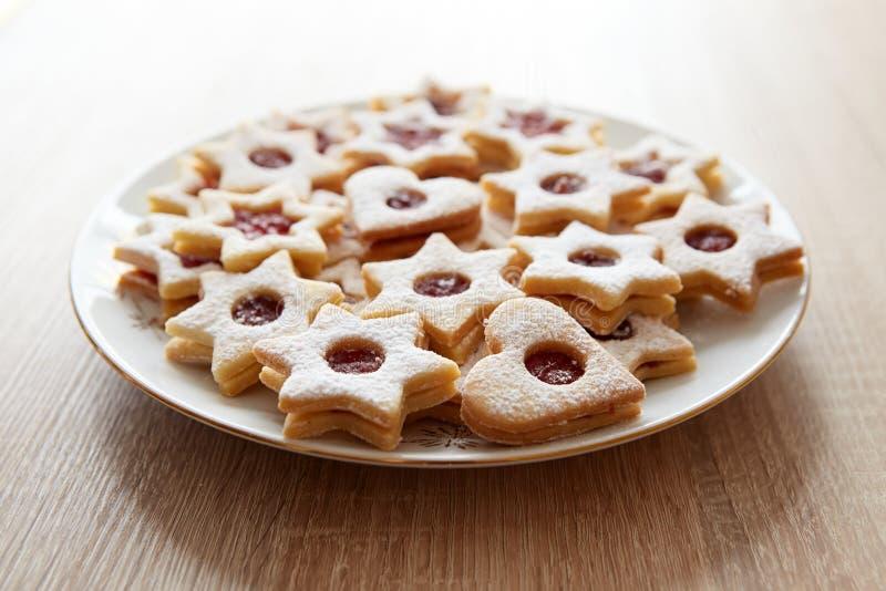 Close-up van de koekjes van Kerstmislinzer stock foto's
