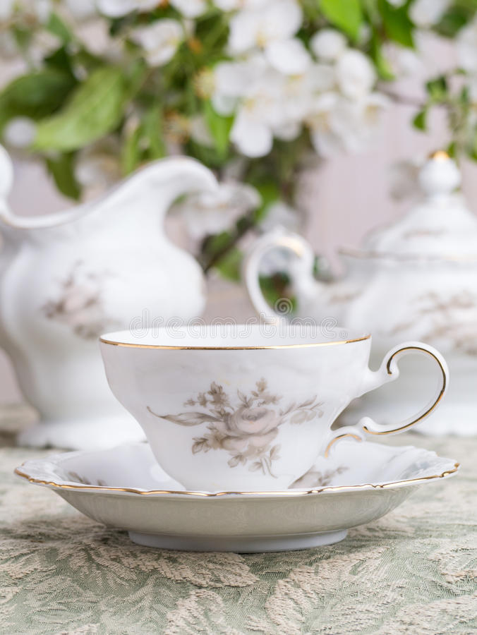 Close-up van de Kop van de Koffie van China op de Lijst van het Huwelijk royalty-vrije stock foto's