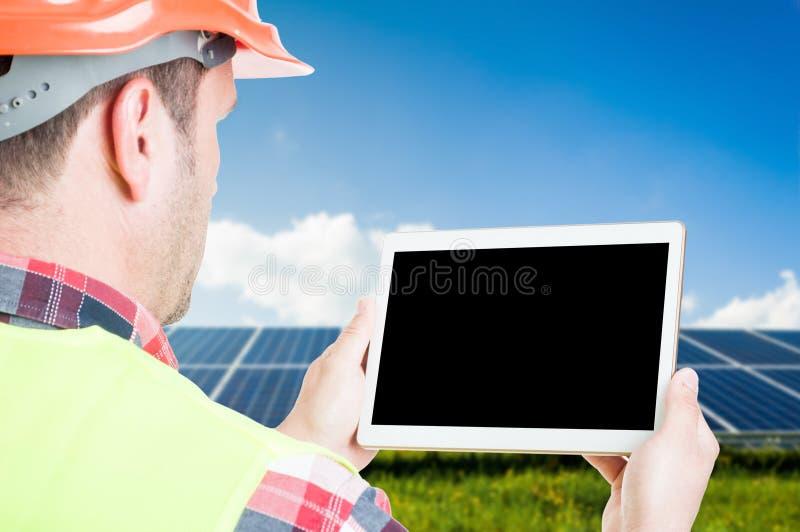 Close-up van de mannelijke tablet van de architectenholding stock foto's
