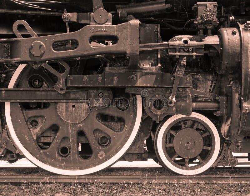 Close-up van de Stoom Gedreven Motor van de Trein stock foto