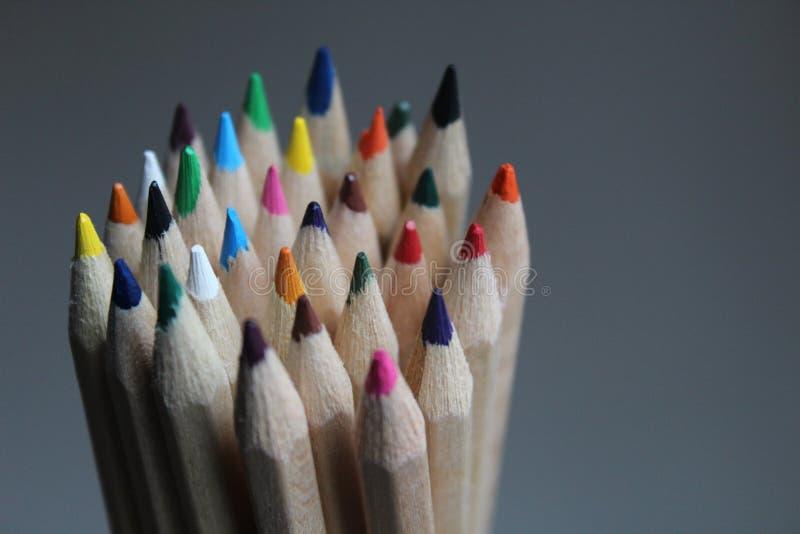 Close-up van de uiteinden van het potloodkleurpotlood stock foto
