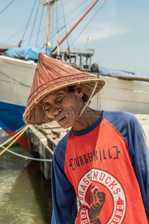 Close-up van dokarbeider in de Oude Haven van Paotere van Makassar, Zuiden Sulawesi, Indonesië royalty-vrije stock afbeelding