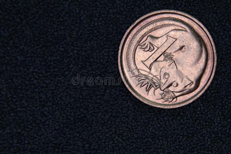 Close-up van een Australisch 1 centmuntstuk stock afbeeldingen