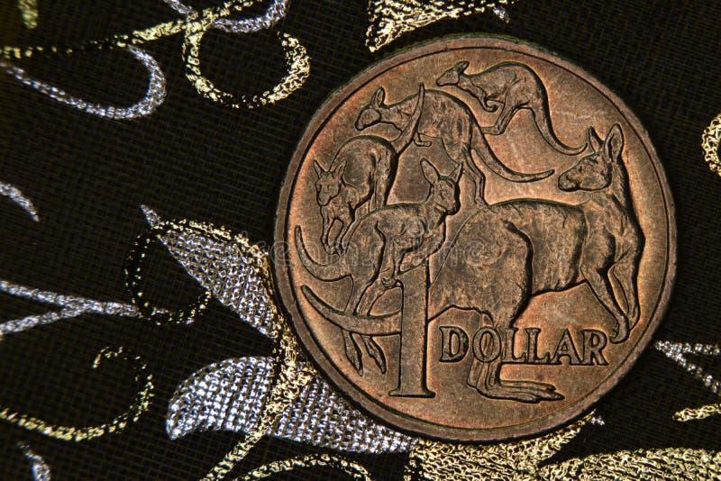 Close-up van een Australisch 1 dollarmuntstuk stock afbeeldingen