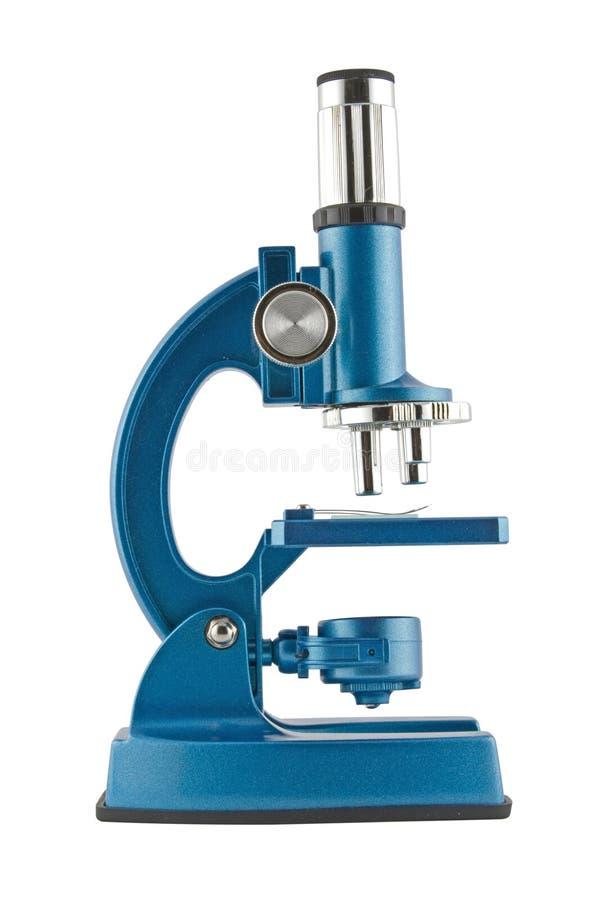 Close-up van een blauwe microscoop stock afbeelding