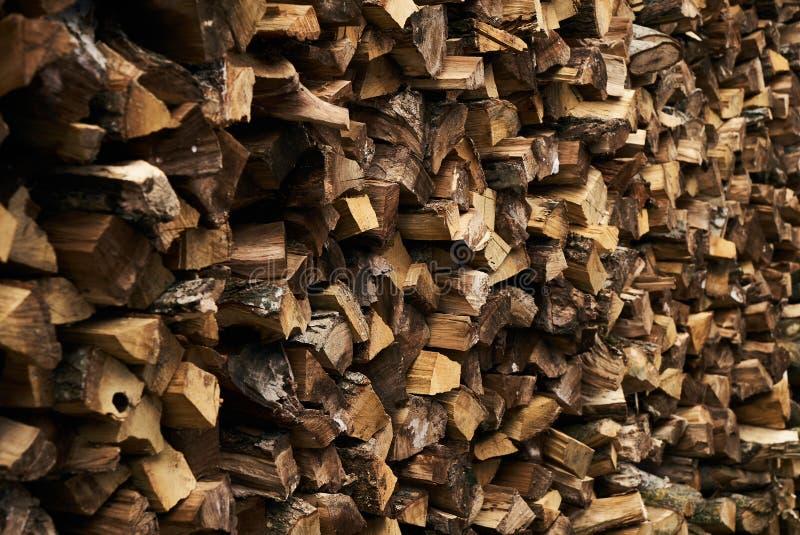 Close-up van een brandhoutstapel stock fotografie