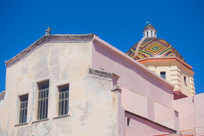 Close-up van een Catheral in Alghero, Italië royalty-vrije stock foto's