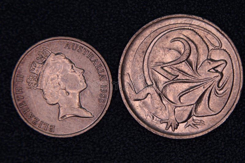 Close-up van een de centmuntstuk van Australiër 1 en 2 royalty-vrije stock afbeelding