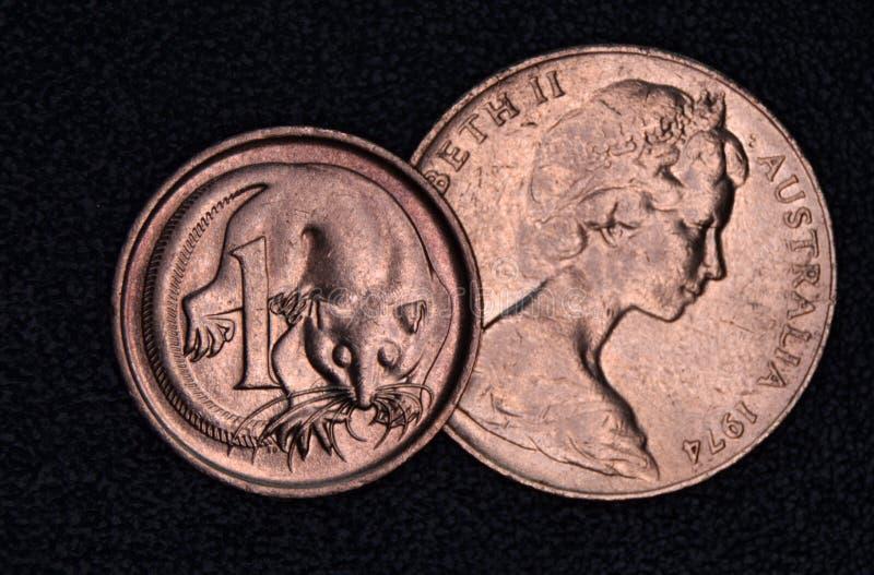 Close-up van een de centmuntstuk van Australiër 1 en 2 stock foto's