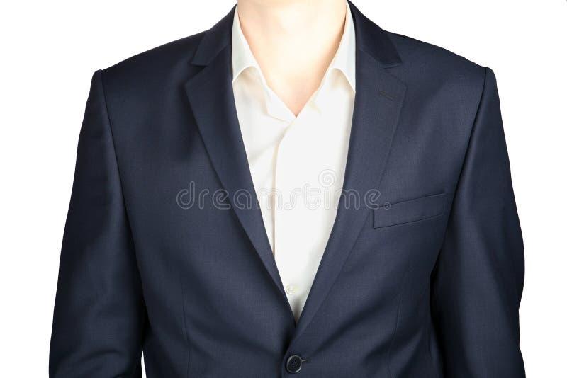 Close-up van een formele donkergrijze blazer, strikte die kleding, op wit wordt geïsoleerd stock afbeelding