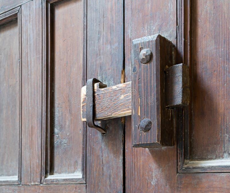 Close-up van een houten oude klink royalty-vrije stock foto's