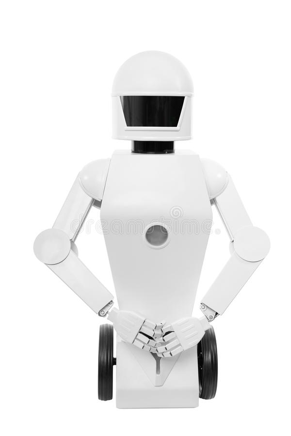 Close-up van een leuke autonome de dienstrobot stock afbeeldingen