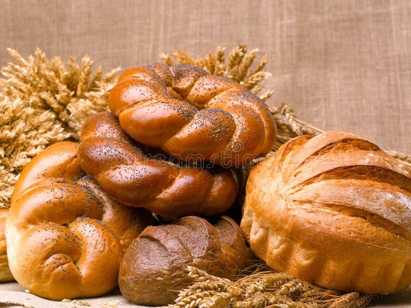 Close-up van een mooi stilleven van brood, banketbakkerswerkenwi stock afbeelding