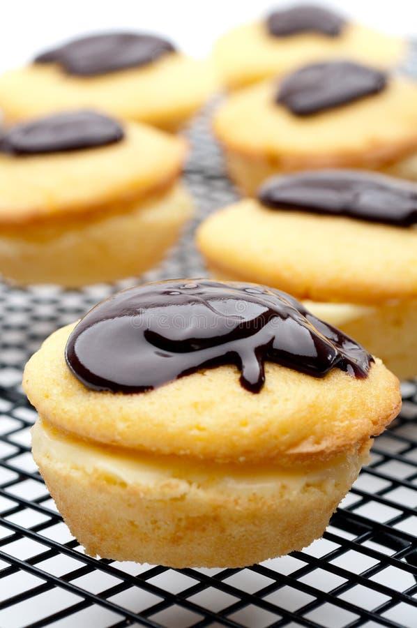 Close-up van een Pastei Cupcakes van de Room van Boston stock afbeeldingen