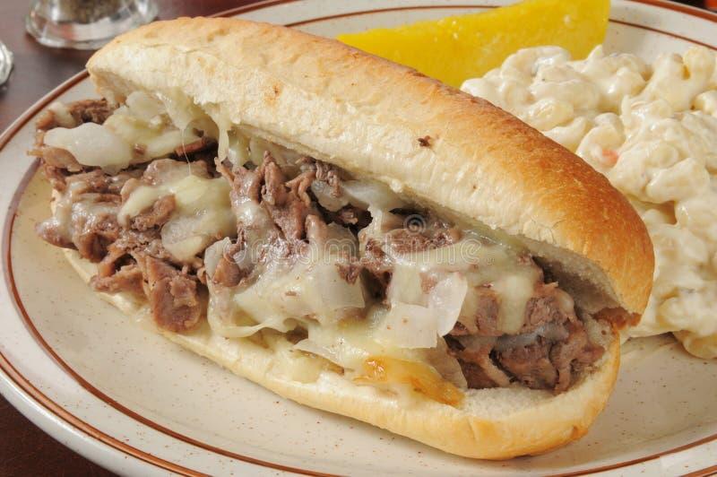 Close-up van een Philly-sandwich van het kaaslapje vlees royalty-vrije stock fotografie