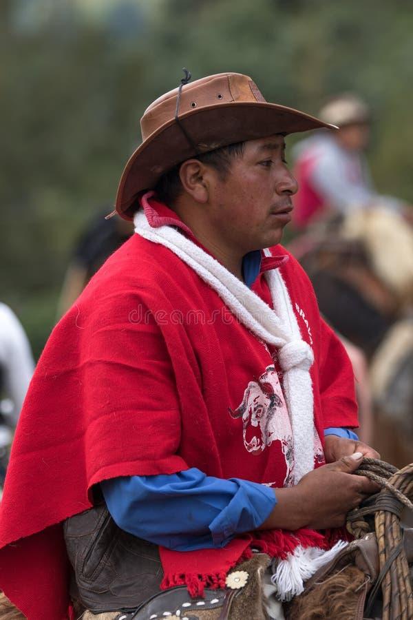 Close-up van een quechua cowboy stock foto