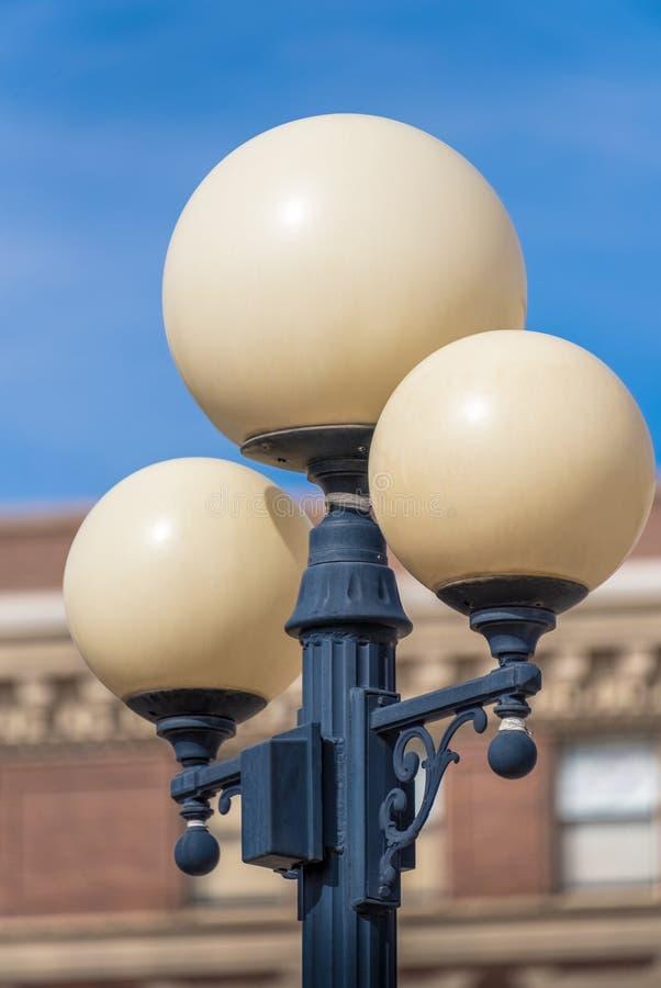 Close-up van een straat om lantaarn royalty-vrije stock foto