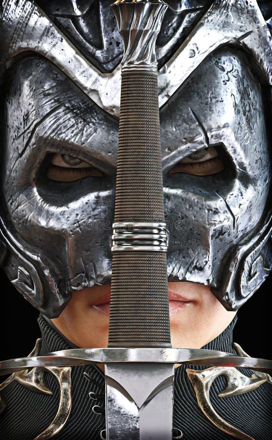 Close-up van een vrouwelijke gepantserde strijdersridder met zwaard stock illustratie